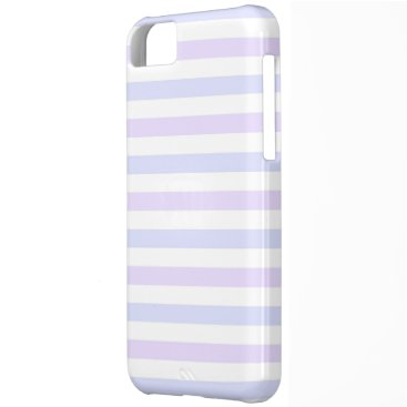 Beach Themed Pastel Lilac, Blue and White Stripes Case For iPhone 5C