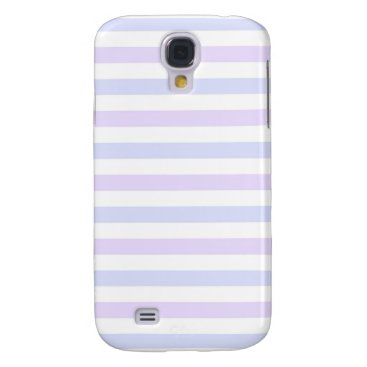 Beach Themed Pastel Lilac, Blue and White Stripes Galaxy S4 Cover
