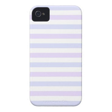 Beach Themed Pastel Lilac, Blue and White Stripes iPhone 4 Case-Mate Case