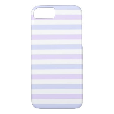 Beach Themed Pastel Lilac, Blue and White Stripes iPhone 7 Case
