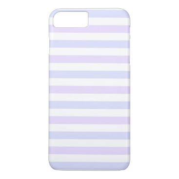 Beach Themed Pastel Lilac, Blue and White Stripes iPhone 7 Plus Case