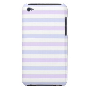 Beach Themed Pastel Lilac, Blue and White Stripes iPod Case-Mate Case