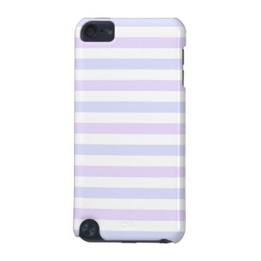Beach Themed Pastel Lilac, Blue and White Stripes iPod Touch (5th Generation) Case