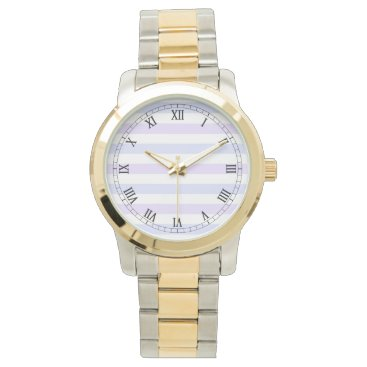 Beach Themed Pastel Lilac, Blue and White Stripes Watch