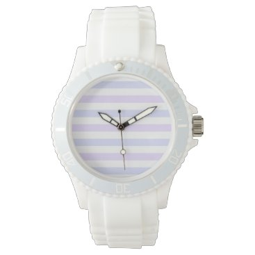 Beach Themed Pastel Lilac, Blue and White Stripes Watches