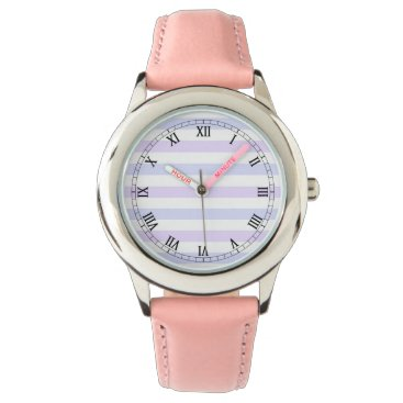 Beach Themed Pastel Lilac, Blue and White Stripes Wrist Watch
