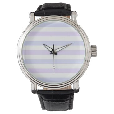 Beach Themed Pastel Lilac, Blue and White Stripes Wristwatch