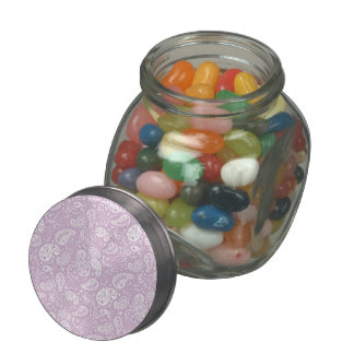 Pastel Lilac Spring Paisely Jelly Belly Candy Jar