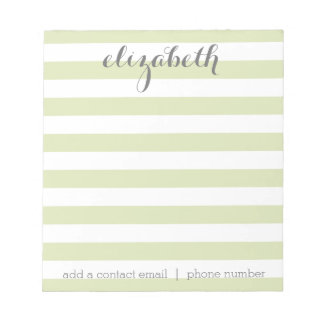 Pastel Lime Green and Gray Girly Stationery Suite Notepad