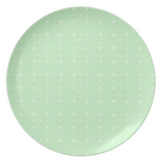 Pastel Lime Green Square and Diamonds Pattern Party Plates