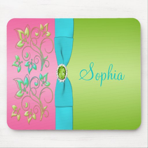 Pastel Lime, Pink, and Blue Floral Mousepad