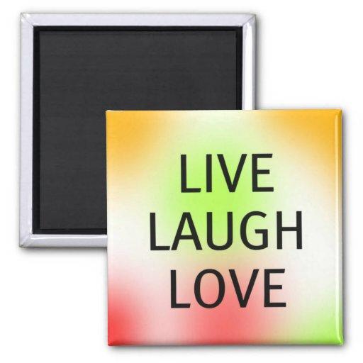 Pastel Live, Laugh, Love 2 Inch Square Magnet