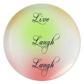 Pastel Live, Laugh, Love Melamine Plate