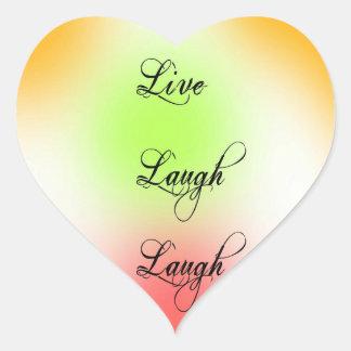 Pastel Live, Laugh, Love Heart Sticker