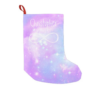 Pastel magical galaxy space background small christmas stocking