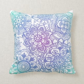 Pastel Mandala Pattern Throw Pillow