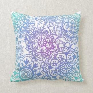 Pastel Mandala Pattern Throw Pillow