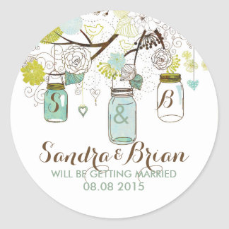 Pastel Mason Jar & Retro Flowers Wedding Sticker Stickers
