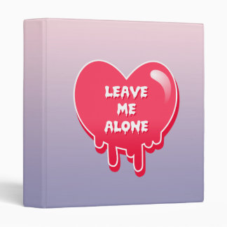 pastel melty heart leave me alone feminism 3 ring binders