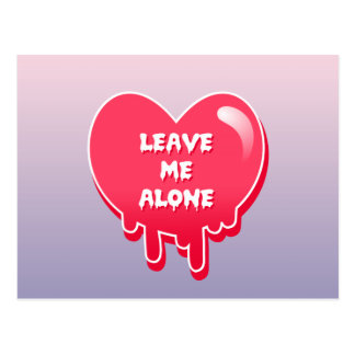 pastel melty heart leave me alone feminism postcard