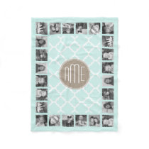 Pastel Mint and Tan Quatrefoil Pattern Monogram Fleece Blanket
