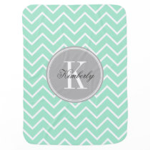 Pastel Mint Chevron with Gray Chevron Swaddle Blanket