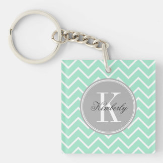 Pastel Mint Chevron with Gray Monogram Double-Sided Square Acrylic Keychain