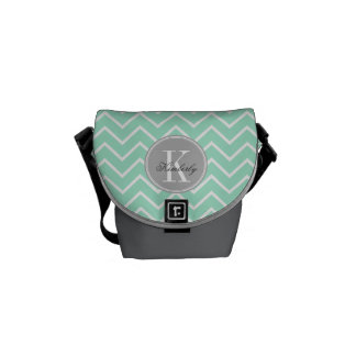 Pastel Mint Chevron with Gray Monogram Courier Bags