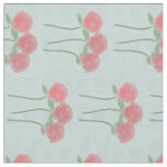 Pastel Mint Gray Floral Red Roses Pattern Fabric