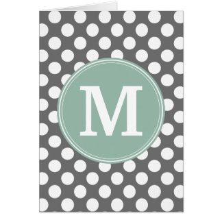 Pastel Mint & Gray Polka Dots with Custom Monogram Greeting Card
