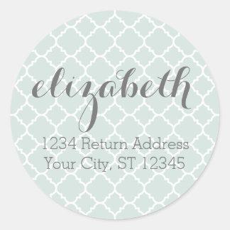 Pastel Mint & Gray Quatrefoil Pattern Custom Name Classic Round Sticker