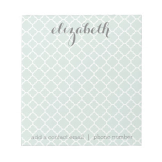 Pastel Mint & Gray Quatrefoil Pattern Custom Name Notepad