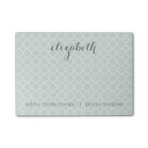 Pastel Mint & Gray Quatrefoil Pattern Custom Name Post-it Notes