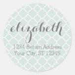 Pastel Mint & Gray Quatrefoil Pattern Custom Name Sticker