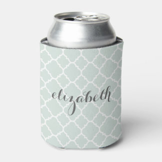 Pastel Mint & Gray Quatrefoil Pattern Custom Name Can Cooler