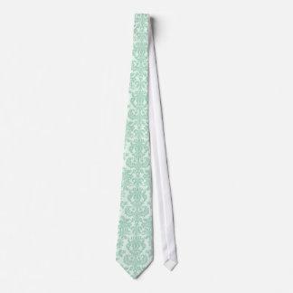 Pastel Mint-Green 3 Vintage Floral Damasks Neck Tie