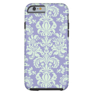 Pastel Mint Green And Lavender Floral Damasks Tough iPhone 6 Case