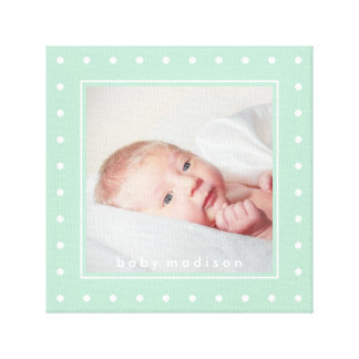 Pastel Mint Green and White Dots | Your Baby Photo Canvas Print