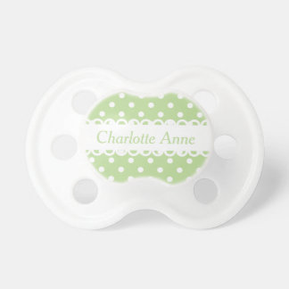 Pastel Mint Green and White Polka Dot Personalized Pacifier