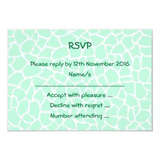 Pastel Mint Green Animal Print Giraffe Pattern 3.5x5 Paper Invitation Card