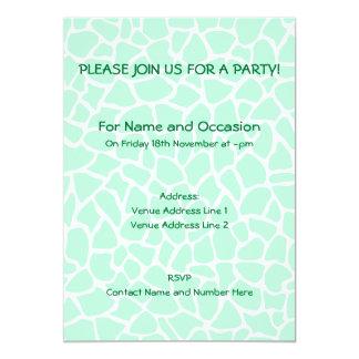 Pastel Mint Green Animal Print Giraffe Pattern 5x7 Paper Invitation Card
