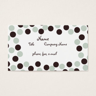 Pastel Mint Green & Brown Polka Dot Business Card