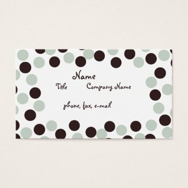 Professional Business Pastel Mint Green & Brown Polka Dot Business Card