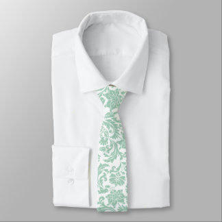Pastel Mint-Green Floral Damask On White Necktie