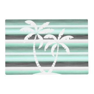 Pastel Mint Green Gray Watercolor Stripes Pattern Placemat
