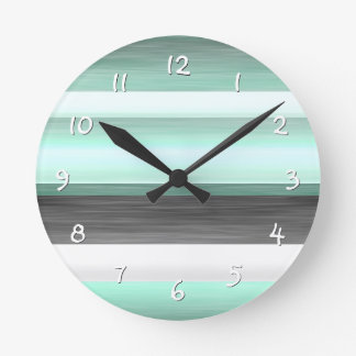 Pastel Mint Green Gray Watercolor Stripes Pattern Round Clock