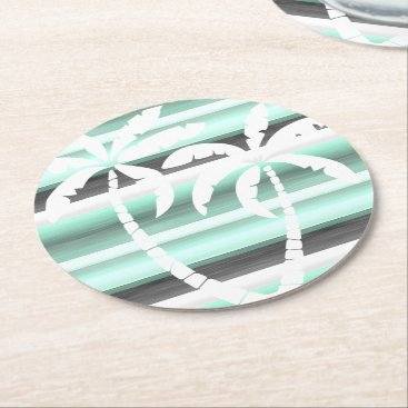 ZizzleZazz Pastel Mint Green Gray Watercolor Stripes Pattern Round Paper Coaster
