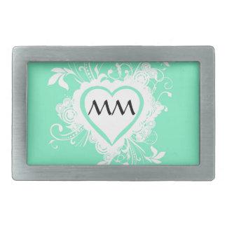 Pastel mint green monogrammed heart belt buckle