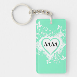 Pastel mint green monogrammed heart keychain