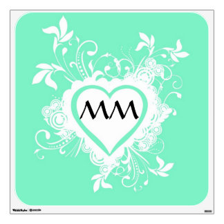 Pastel mint green monogrammed heart room decal